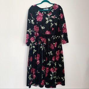 90s black velvet rose dress